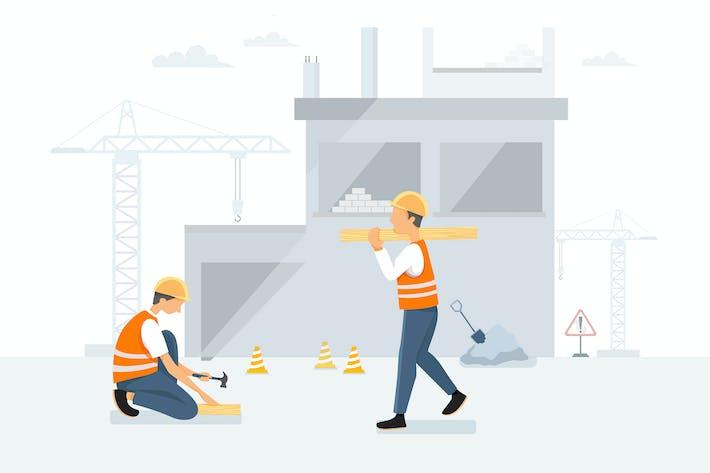 Bauarbeiter arbeiten an einem Haus
