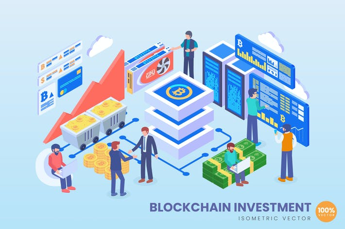 Thumbnail for Isometric Blockchain Investment Vector Concept