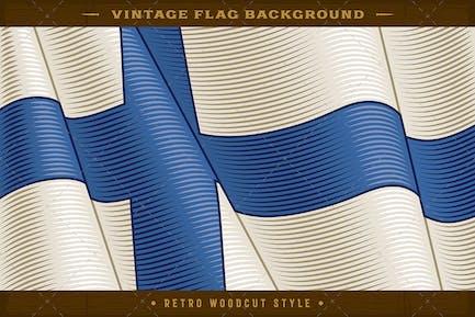 Vintage Flag Of Finland. Close-up Background