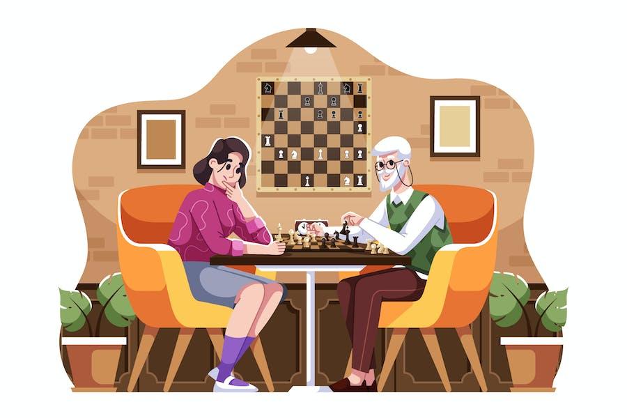 Playing Chess Illustration