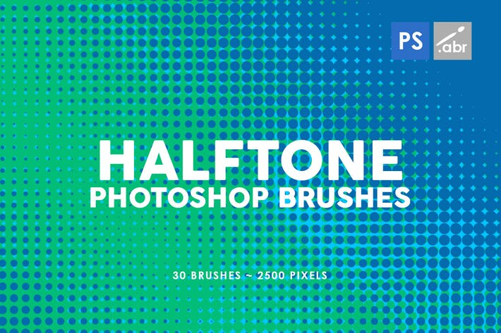 Cover Image For 30 Halftone Gradients Photoshop Stamp Brushes