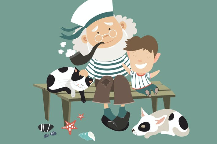 Thumbnail for Old sailor sitting on bench with grandson. Vector