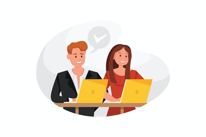 Thumbnail for Frau und Mann sitzen am Tisch am Arbeitsplatz