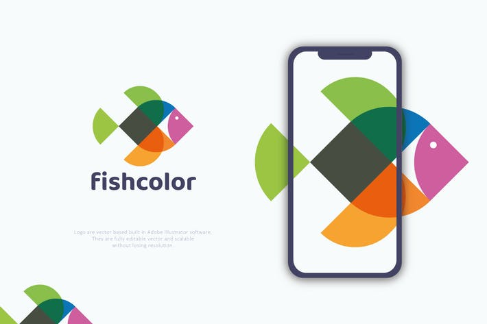 Thumbnail for Abstract Colourful Fish Logo