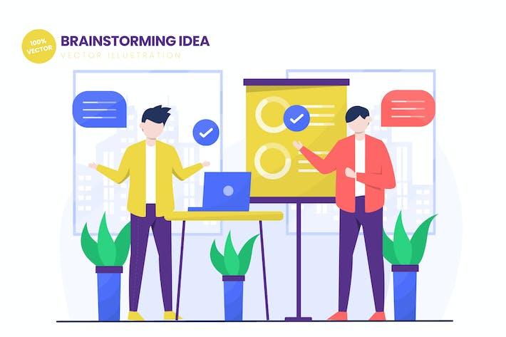 Thumbnail for Brainstorming Idea Flat Vector Illustration