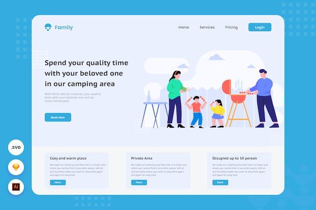 Camping Area Rent - Website Header Illustration