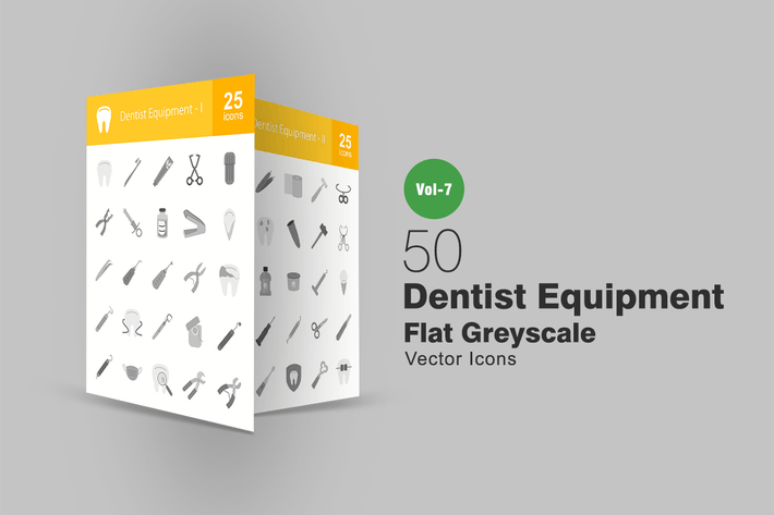 Thumbnail for 50 Dentist Equipment Flat Greyscale Icons
