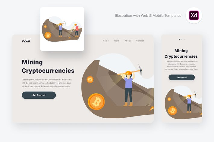 Thumbnail for Mining Cryptocurrencies Illustration (XD & SVG)
