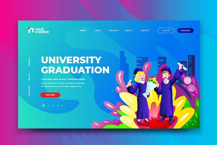 Thumbnail for University Graduation Web PSD and AI Template