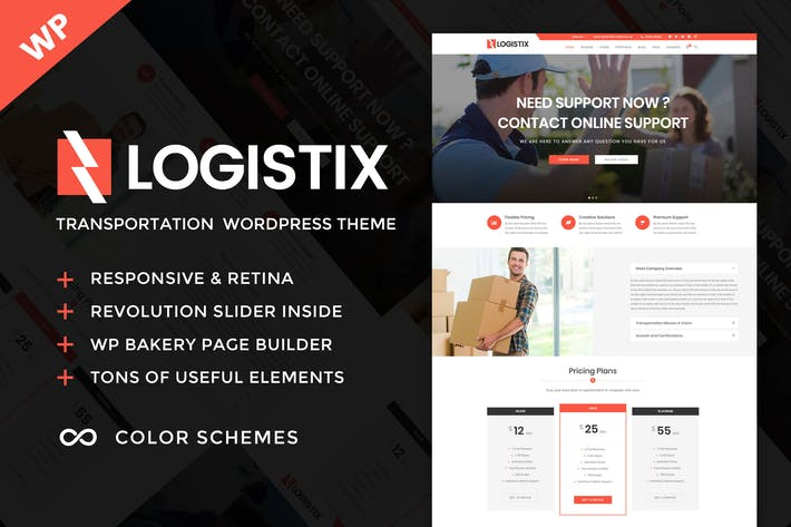 Thumbnail for Logistix - Transportation WordPress Theme