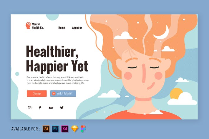 Thumbnail for Woman with Positive Mind - Web Illustration