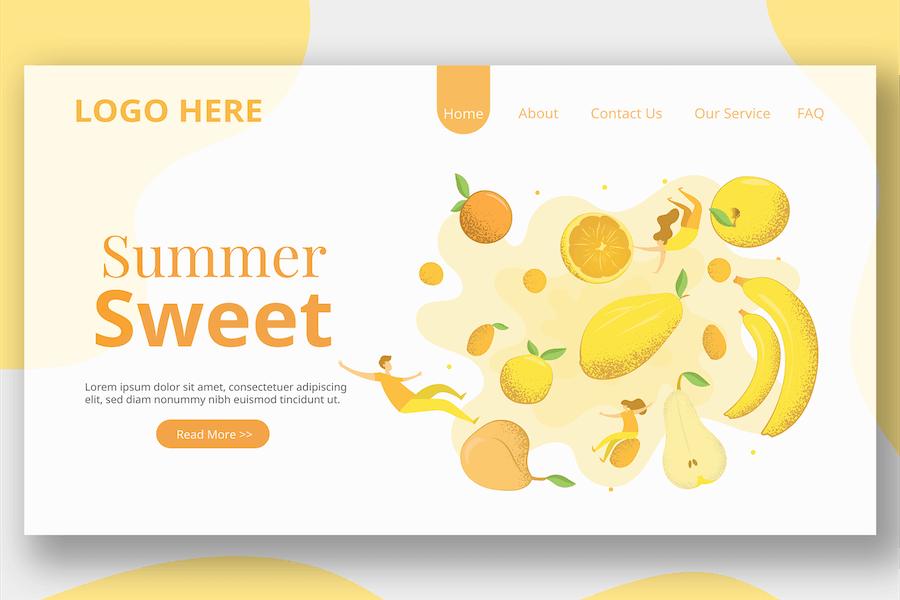 Healthy Fruit Illustration - Landing Page