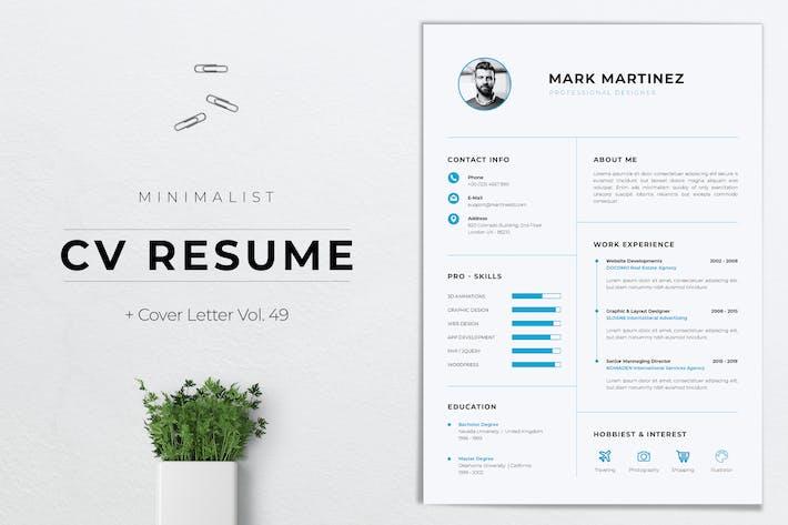 Thumbnail for Minimalist CV Resume Vol. 49