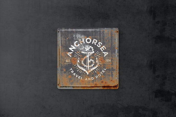 Thumbnail for Vintage Rusty  Metal Plate  Mockup