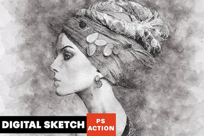 Thumbnail for Digital Sketch Photoshop Action