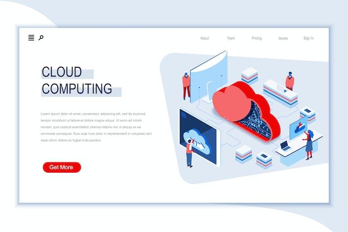 Cloud Computing Isometric Banner Flat Concept