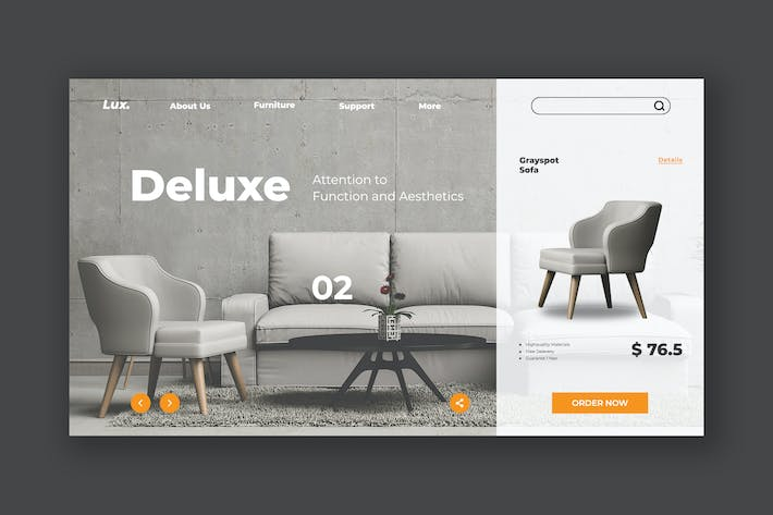 Thumbnail for Sofa Furniture Hero Header Template
