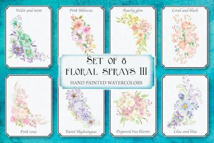 Set of 8 Watercolor Clip Art Sprays: III