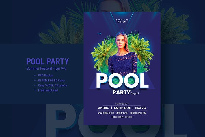 Thumbnail for Pool Party and Summer Festival Flyer V-5