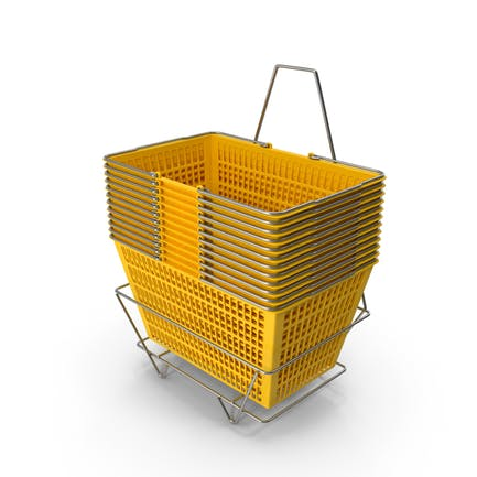 Set von 12 gelben Einkaufskörben mit Ständer