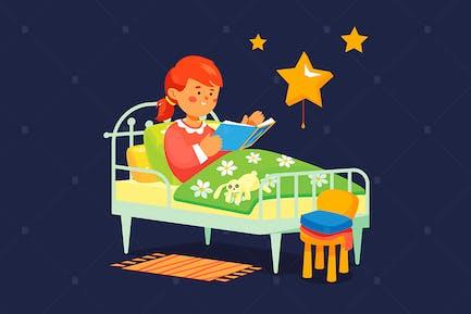 Mädchen lesen vor dem Schlafengehen - flache Design-Illustration