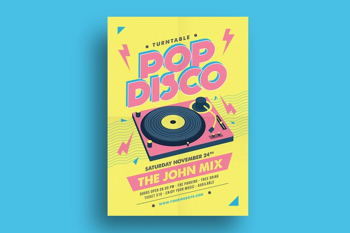 pop disco flyer by guuver on envato elements