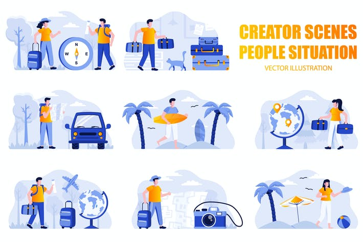 Thumbnail for Travel Vacation People Character Scene Creator Kit