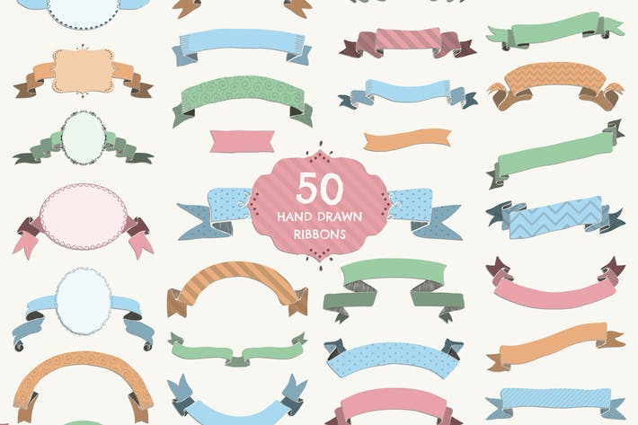 Thumbnail for 50 Ribbons. PNG, SVG, AI, EPS, JPG