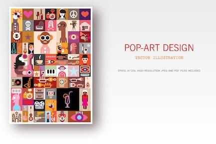 Ilustración Vector Pop-Art Diseño
