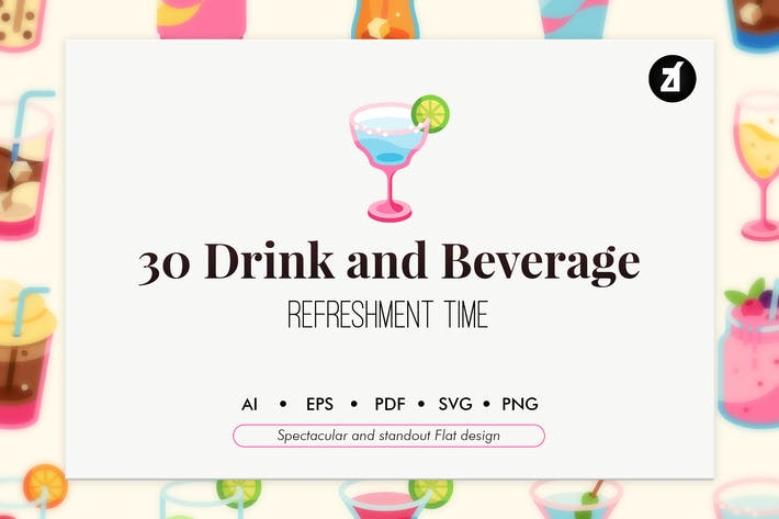 Thumbnail for 30 Drink and beverage elements in flat design