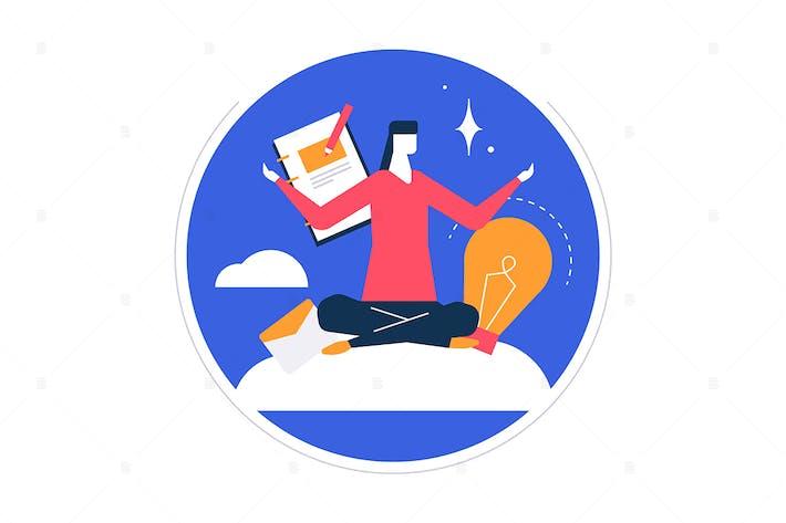 Thumbnail for Mindfulness at work - ilustración de diseño plano