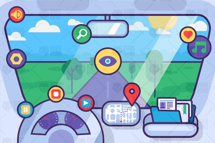 Cover Image For Car Driving Service With Icons
