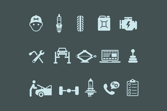 Thumbnail for 15 Car Maintenance Icons