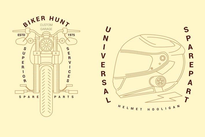 Thumbnail for 2 Motorcycle Monoline Logo Badge