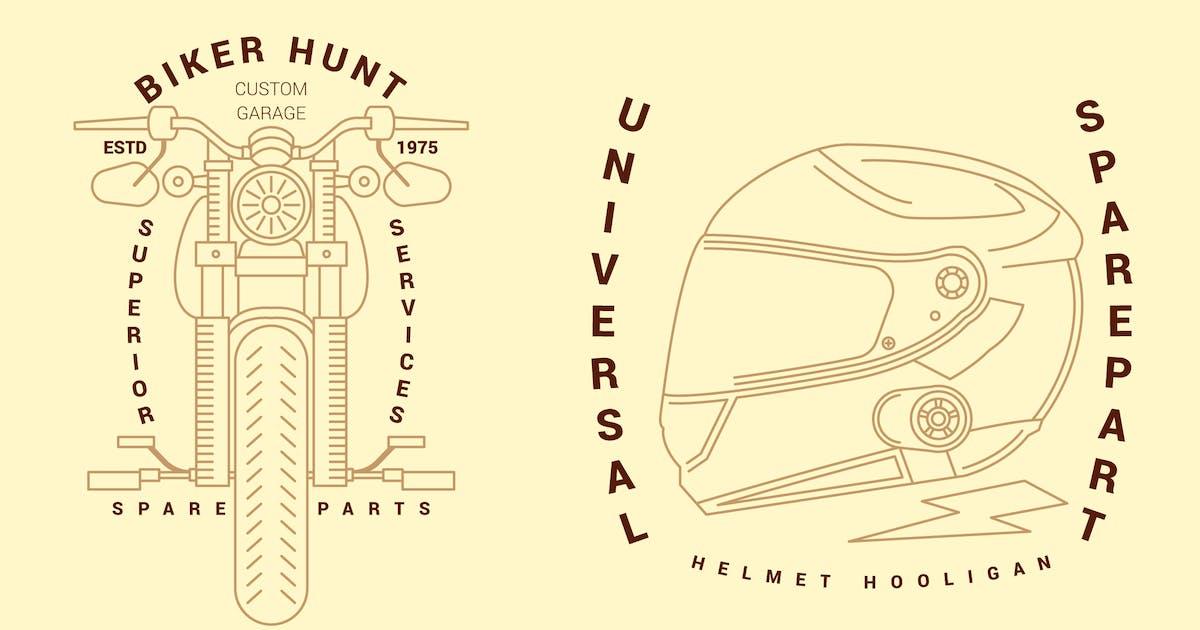 Download 2 Motorcycle Monoline Logo Badge by inipagi