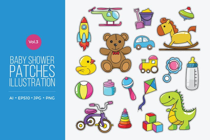 Thumbnail for Cute Baby Fashion Patches Vector Vol.3