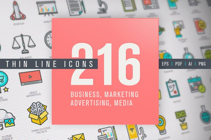 Thumbnail for Set of Thin Line Icons for Business and Marketing