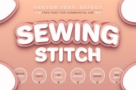 Sewing stitch - editable text effect, font style