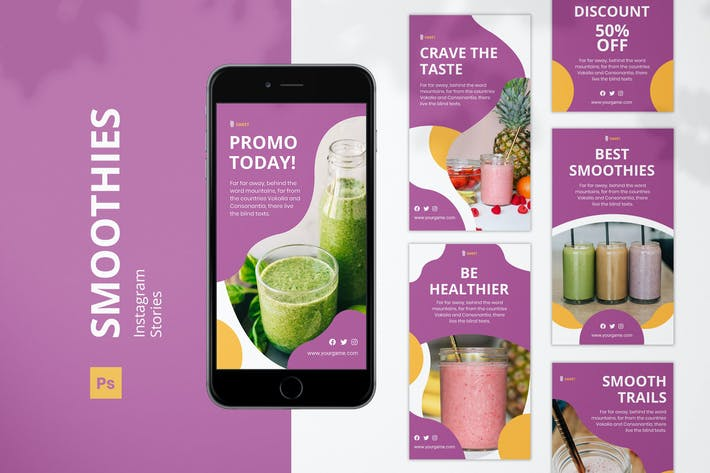 Thumbnail for Smoothies Instagram Stories Design