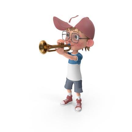 Cartoon Boy Harry Playing Trumpet