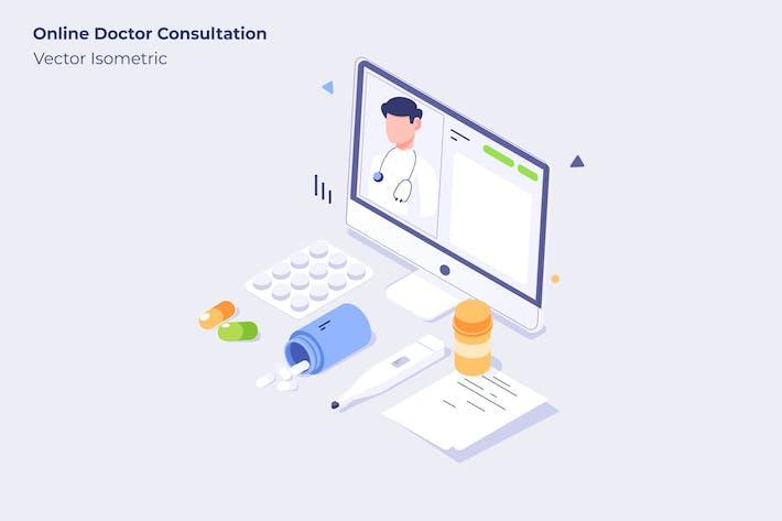 Online Doctor Consultation - Vector Illustration
