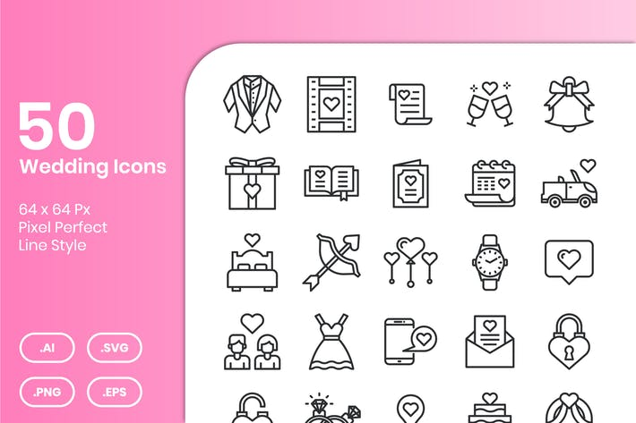 Thumbnail for 50 Wedding Icons Set - Line