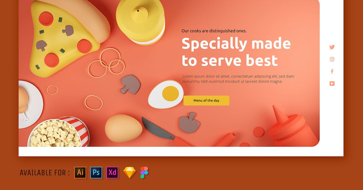 Download Pizza on Table - Web 3D Illustration by SlideFactory