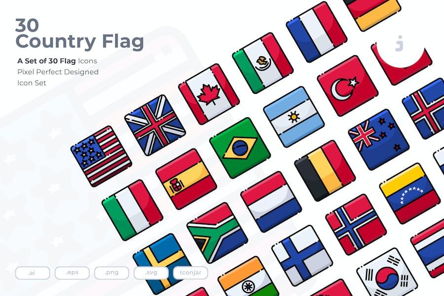 30 Länderflagge Icons
