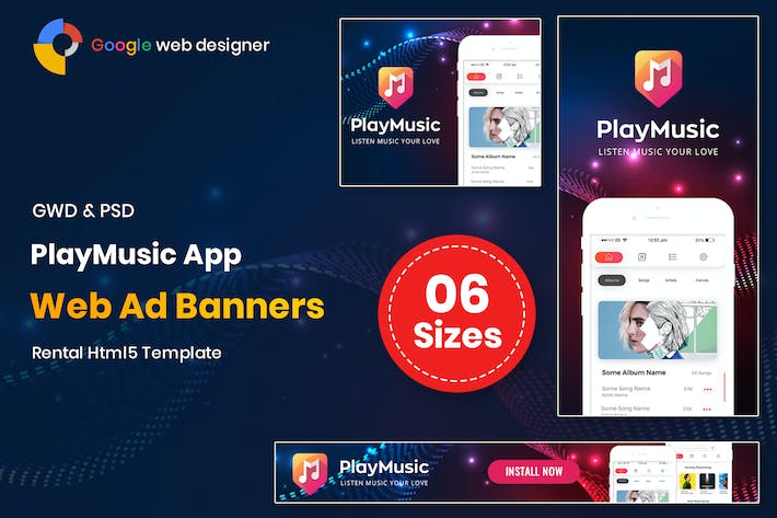 Thumbnail for Play Music App Banners GWD