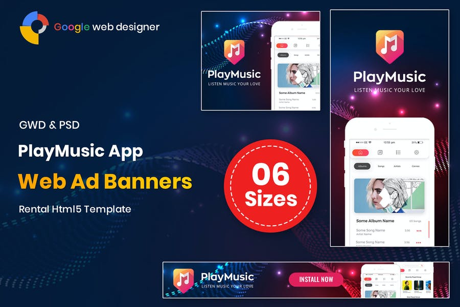 Play Music App Banners GWD