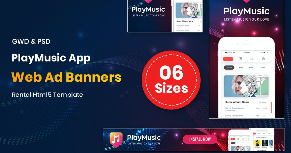 Download Play Music App Banners GWD by nanoagency