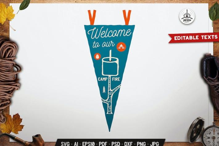 Thumbnail for Camp Pennant Emblem Travel Badge Design Template
