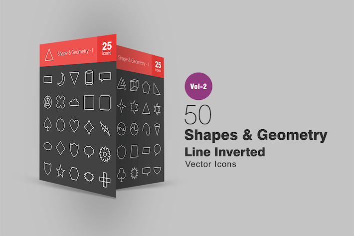 Thumbnail for 50 Shapes & Geometry Line Inverted Icons