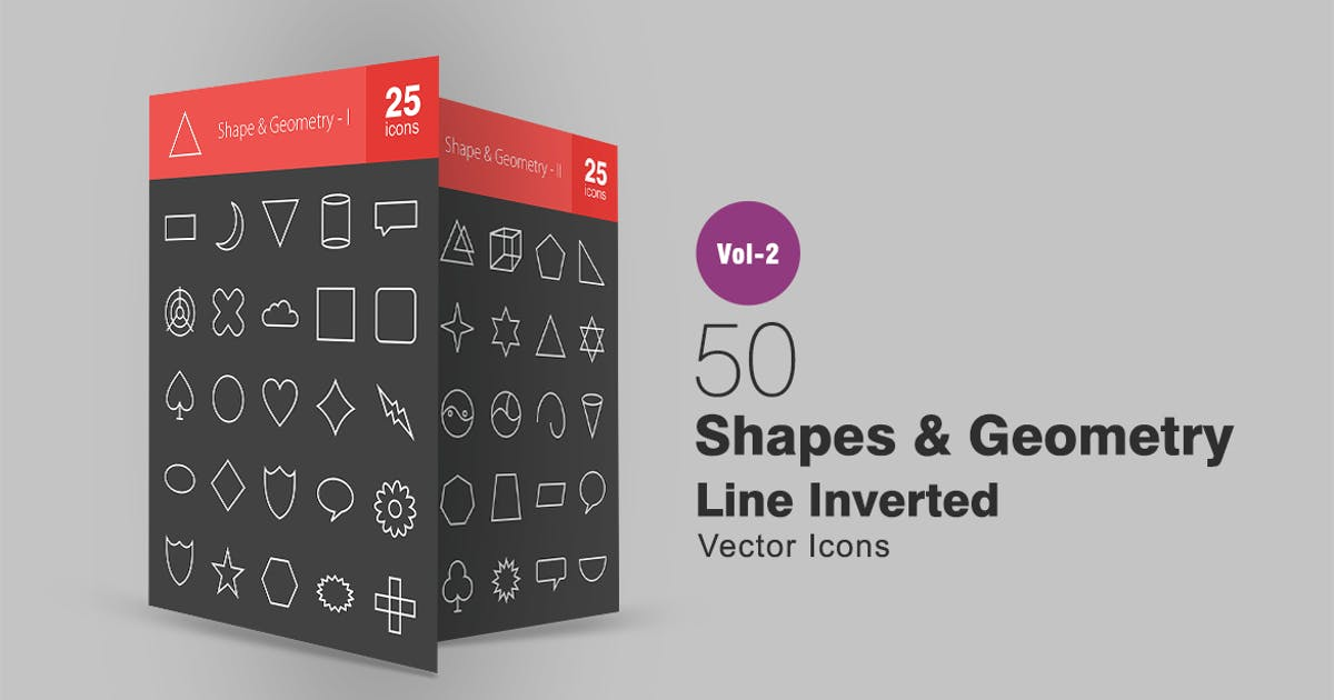 Download 50 Shapes & Geometry Line Inverted Icons by IconBunny